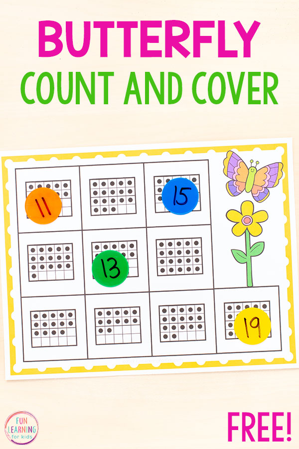 A fun butterfly counting activity for spring math centers in preschool and kindergarten.