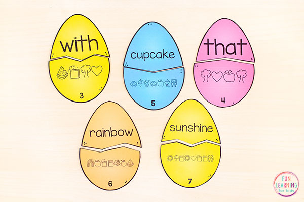 Easter egg puzzles that teach sight words, spelling words, letters and letter sounds and more.