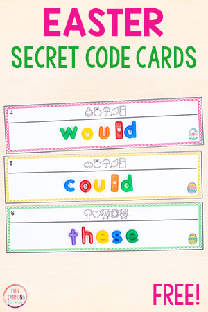 Use these Easter secret code word cards to work on spelling words, sight words, CVC words and more!