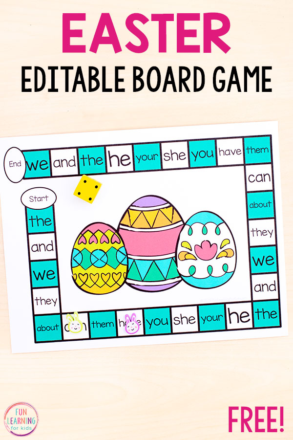 This Editable Easter board game is a fun way to learn sight words, CVC words, spelling words and more!