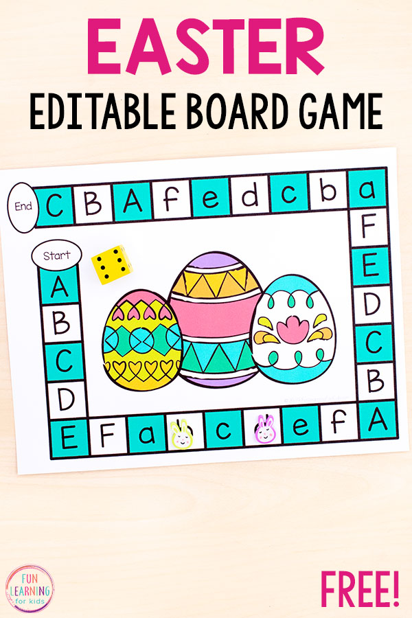 Easter board game alphabet activity to letters and letter sounds in preschool and kindergarten.