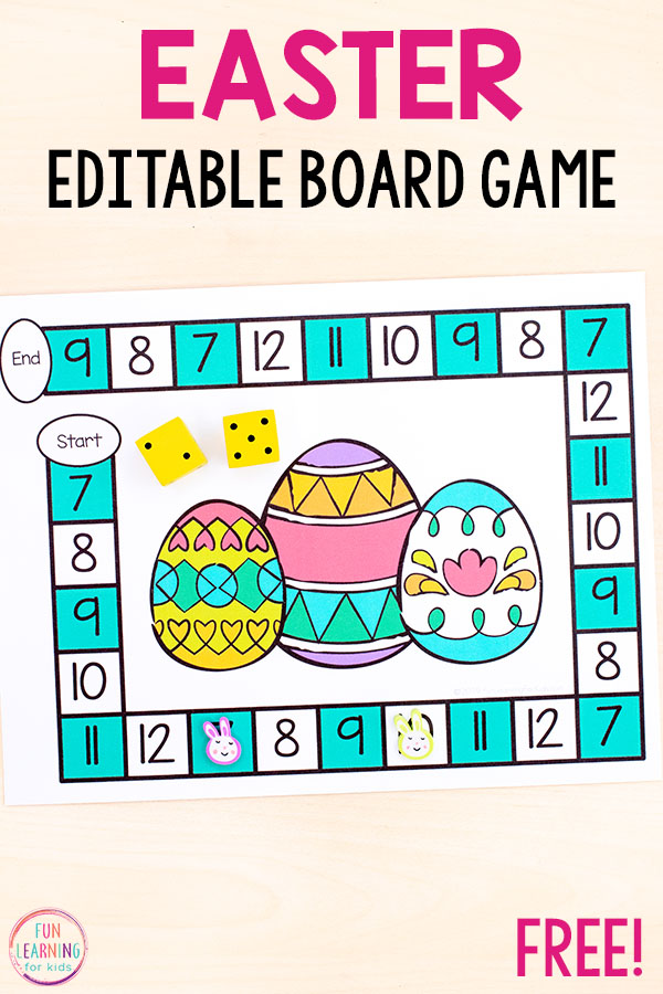 Use this fun editable board game to teach math facts and numbers!