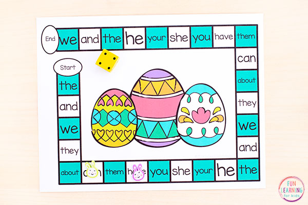 A fun Easter board game to learn literacy and math skills this spring.