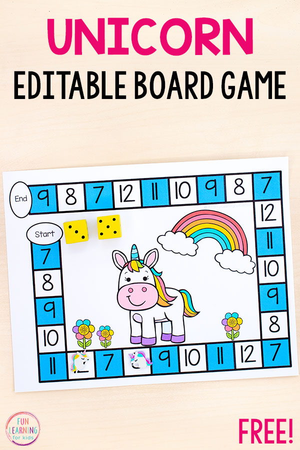 Use this fun unicorn board game to teach numbers, math facts, number sense and more!