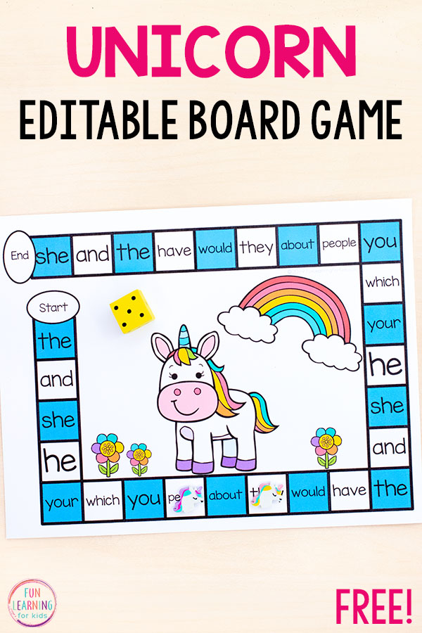 This editable unicorn board game is super easy to differentiate and so much fun to play. Add it to your literacy or sight word centers!