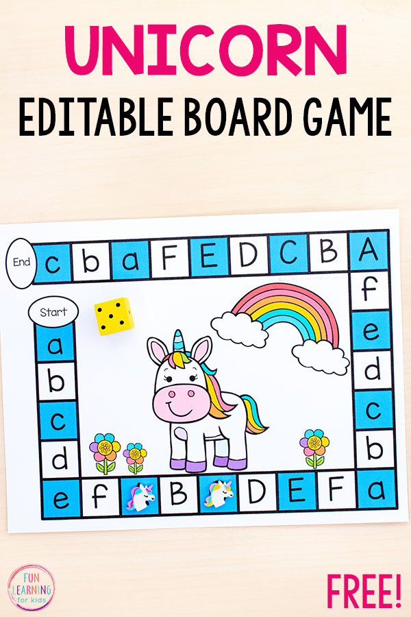 An editable unicorn board game alphabet activity that makes learning letters and letter sounds so much fun!