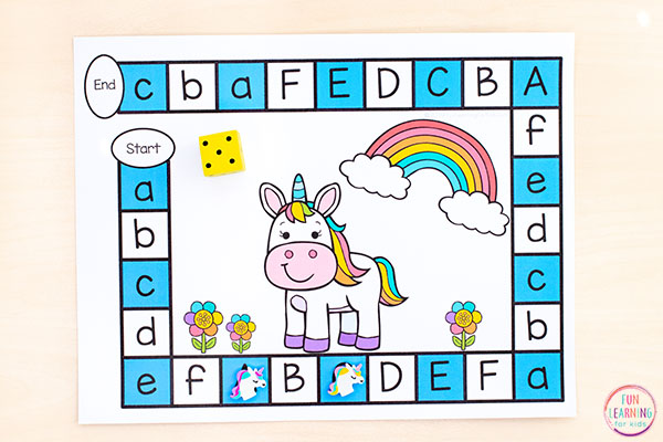 A fun unicorn alphabet activity that teaches letter identification and beginning letter sounds.