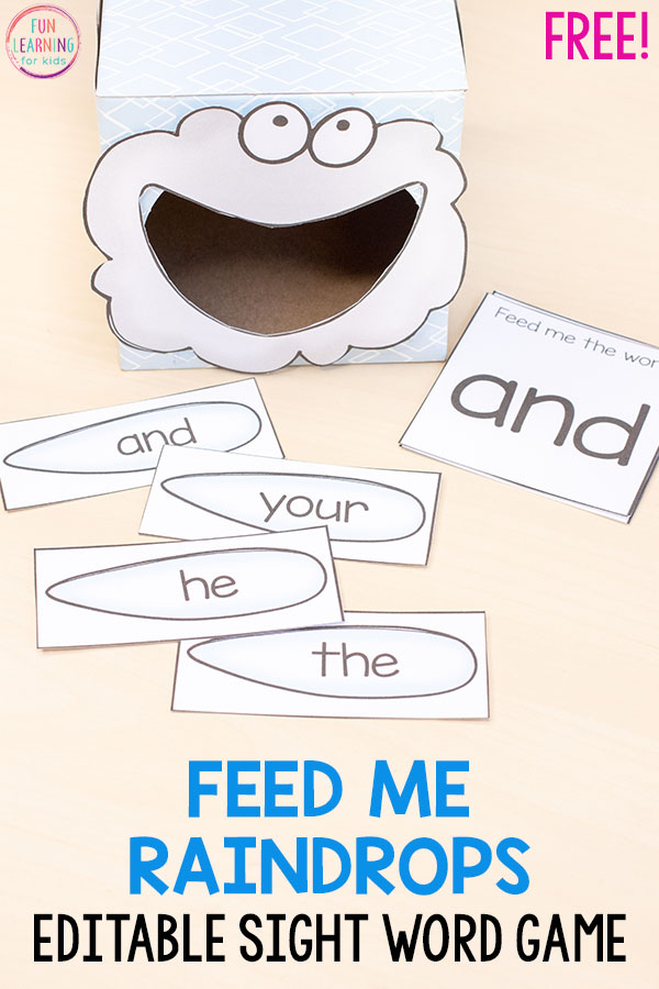 This rain cloud feed me sight words activity is editable and perfect for spring literacy centers!