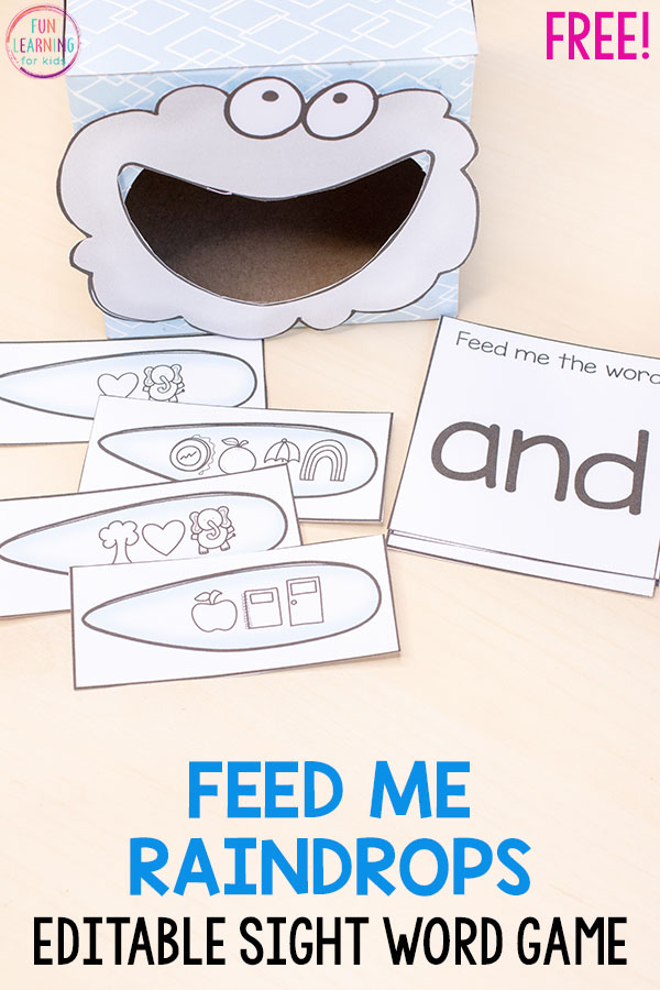 This feed me raindrops secret code sight word activity is editable and so much fun!