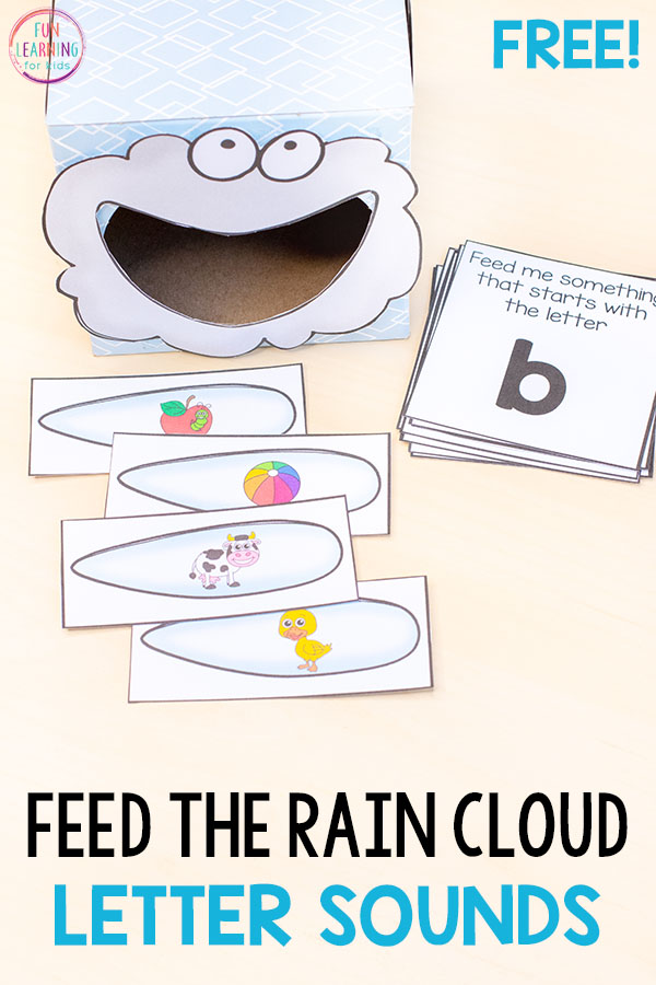 A fun alphabet activity for a spring weather theme or rain theme. The kids will have a blast learning letters and letter sounds!