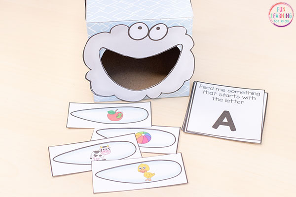 A fun spring weather theme alphabet activity for preschool and kindergarten.