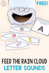 Feed the rain cloud letters sounds for a fun spring alphabet activity.