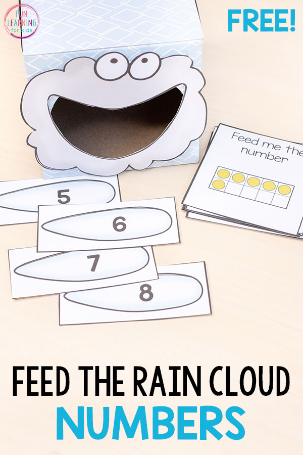 Feed the rain cloud numbers for a fun spring math activity! Perfect for spring math centers in preschool or kindergarten.