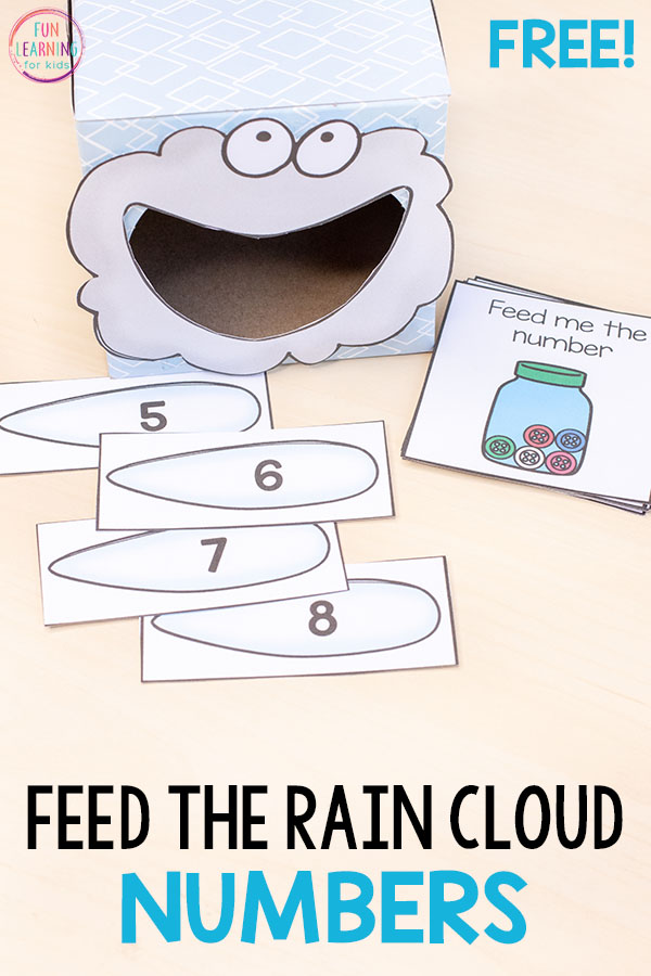 Feed the rain cloud spring numbers activity teaches number sense in a fun way. Use ten frames, base ten blocks and counting pictures to learn numbers.