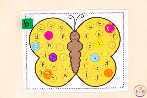 A fun insect theme alphabet game for kids in preschool and kindergarten.