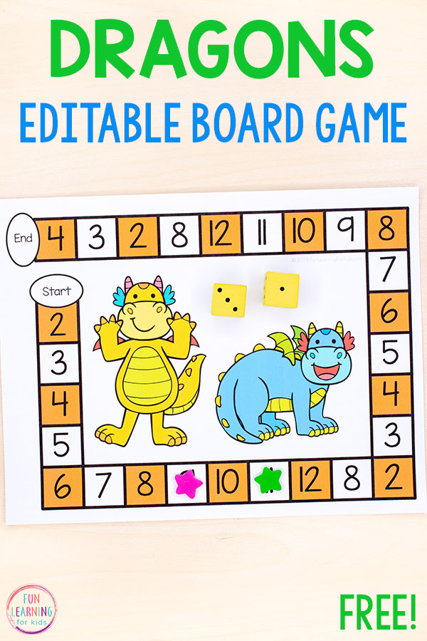 Editable dragon board game to teach math and literacy skills in preschool, kindergarten, first grade or second grade.
