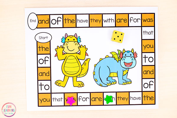Use this dragon activity to teach math and literacy skills like sight words, alphabet, numbers and math facts.