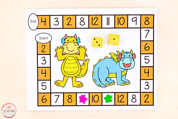 Dragon math and literacy activities for kids.