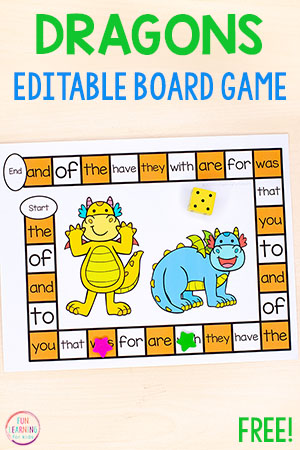 This editable dragon board game is a fun literacy activity for your fairy tale theme or just for fun.