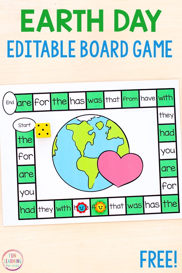 A fun editable Earth Day board game activity for literacy and math skills.