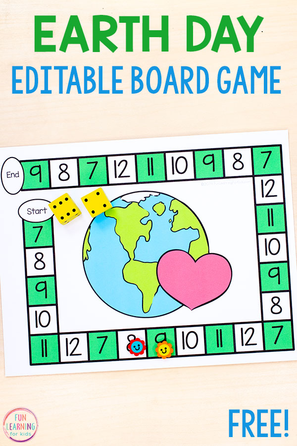Learn math facts with this editable Earth Day board game. Perfect for math centers this spring.
