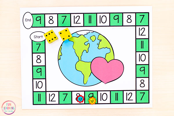 Teach math facts with a fun editable Earth Day board game.