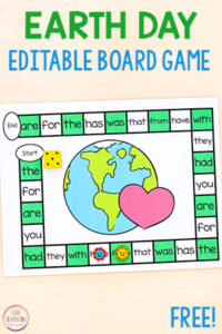 A fun editable Earth Day board game activity to teach letters and letter sounds.
