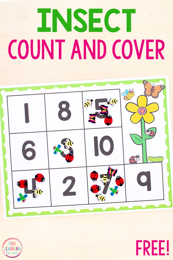Insect count and cover math activity is a fun way to learn numbers and practice counting this spring!