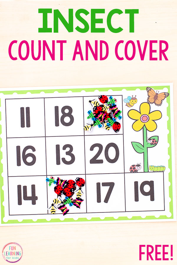 Insect or bug math activity for spring math centers.
