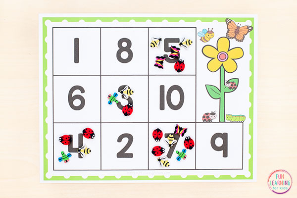 Insect math activity for spring lesson plans.