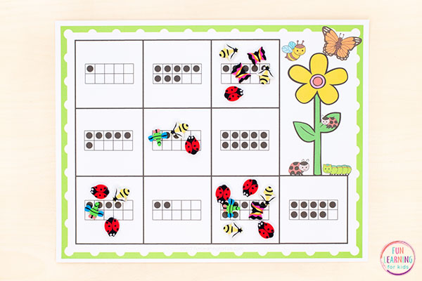 Spring math activity for kindergarten and preschool math centers, small groups or morning work.