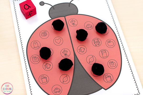 A fun ladybug letter sounds activity for preschool and kindergarten.