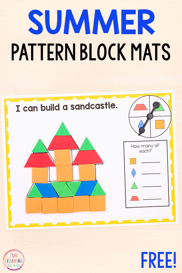 Summer pattern blocks activity mats for kids in kindergarten and preschool.