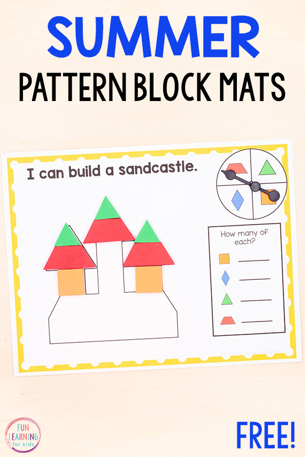 Differentiated beach theme pattern block mats for your math centers in kindergarten or first grade.