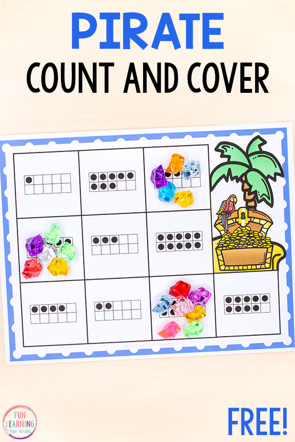 The kids will love these pirate count and cover mats this summer. They make learning to count and numbers 1-20 a fun, hands-on experience.