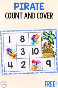 This pirate counting math activity is a fun way to learn numbers and counting in preschool and kindergarten.