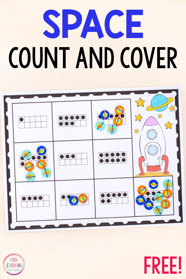 These space count and cover mats are perfect for math centers during your space theme.