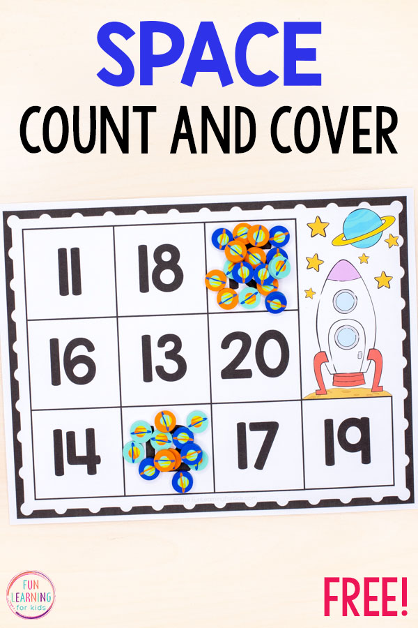 This space theme counting activity for math centers.
