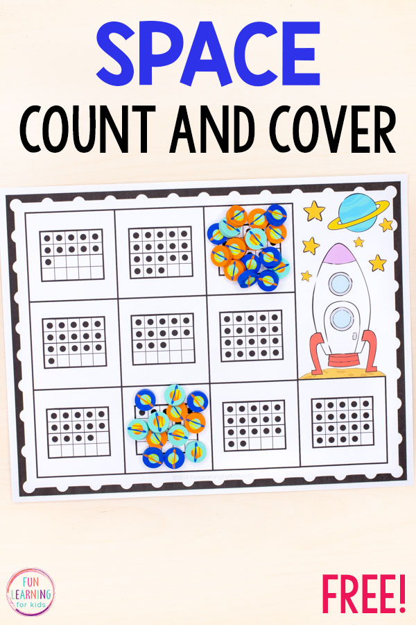 A space counting game for preschool and kindergarten. Work on numbers 1-20.