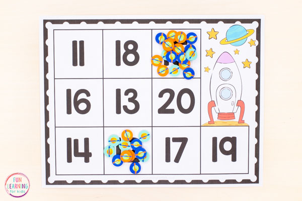 A space counting activity for kids.