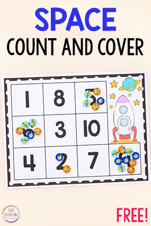 A fun space theme counting activity for preschool and kindergarten. Perfect math centers!