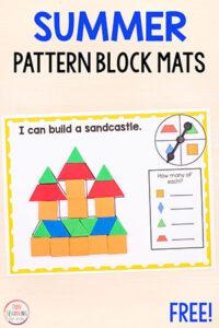 Summer pattern blocks activity mats for kids in kindergarten and preschool.