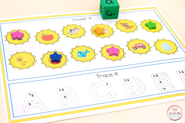 Sun roll and cover mats for summer alphabet centers, math centers, literacy centers in kindergarten or preschool.