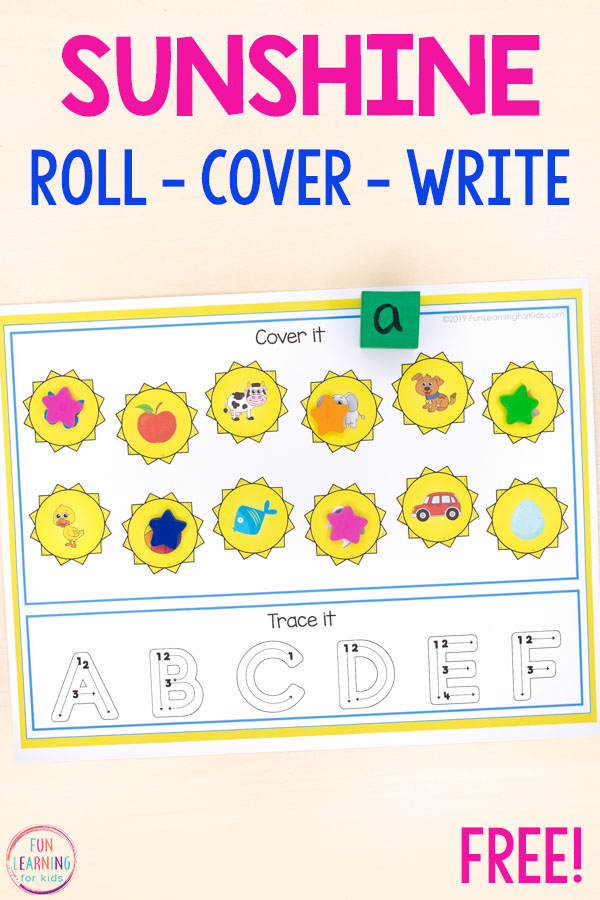 A fun sunshine alphabet activity and math activity for kids to do this summer.