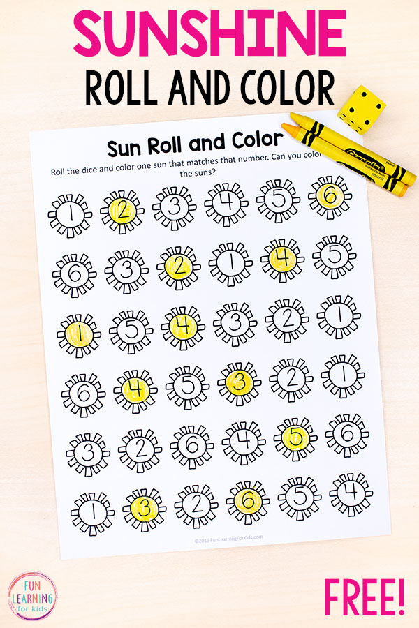 Sun roll and color math and counting activity for summer fun and learning.