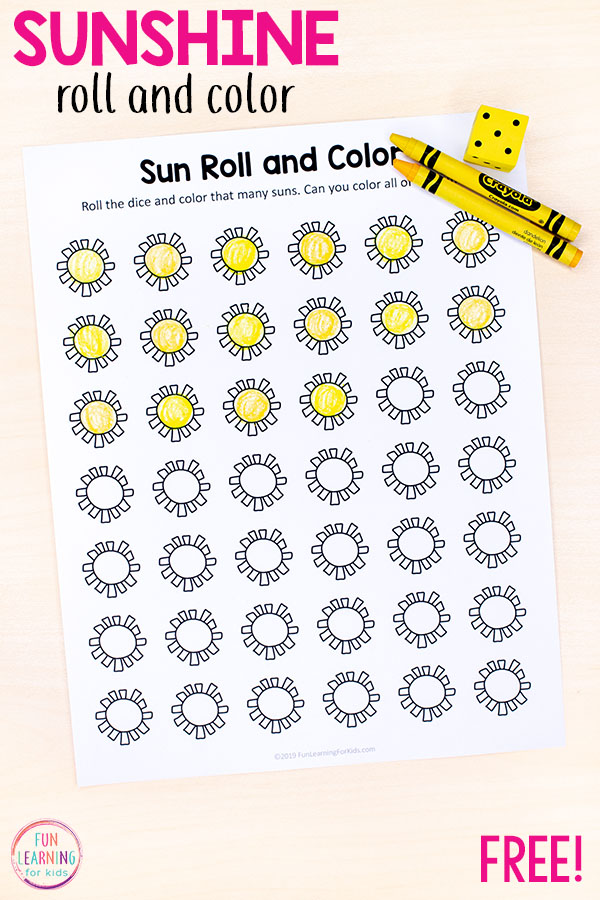 A fun sun theme math activity for summer. Perfect for preschool and kindergarten.