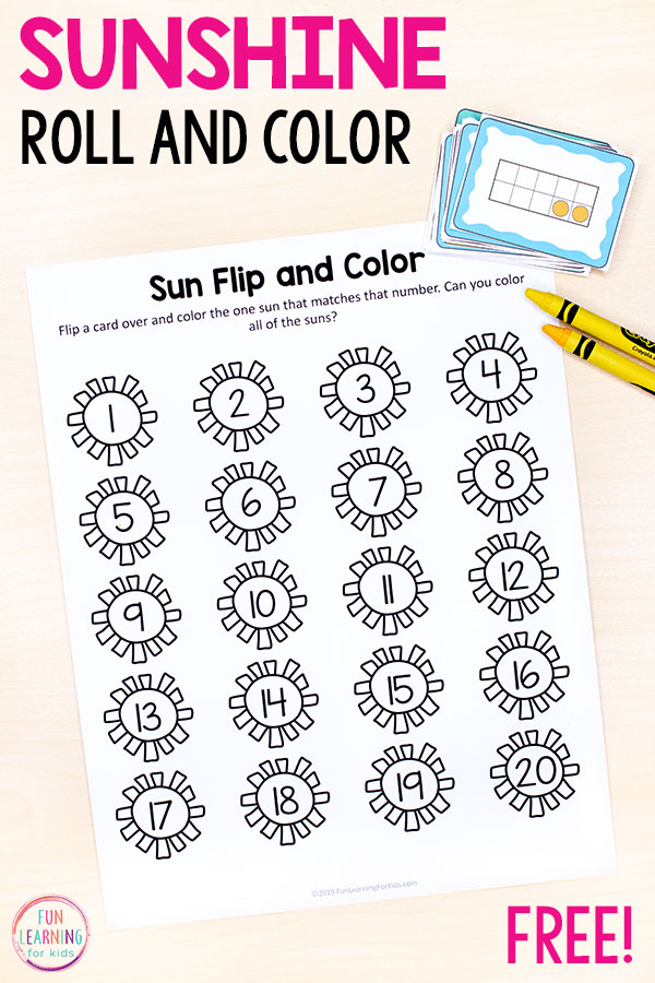 A fun summer counting activity for preschool and kindergarten math centers.