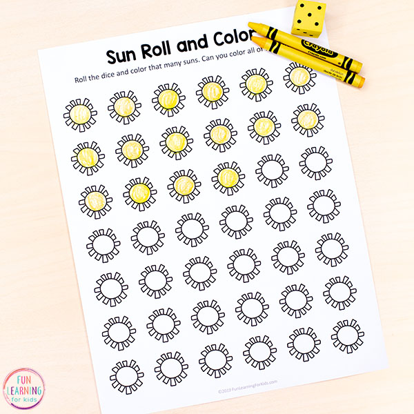 Summer counting activity for math centers or just for fun at home. This sun theme math activity is perfect for kindergarten and preschool.