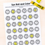 Sun Roll and Color Numbers and Counting Activity