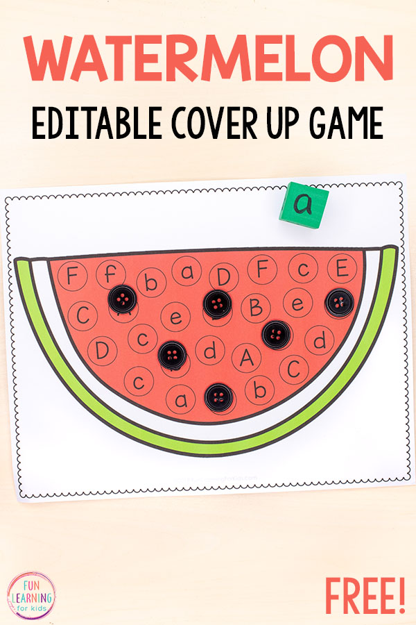 Watermelon alphabet activity for summer literacy centers or alphabet centers.